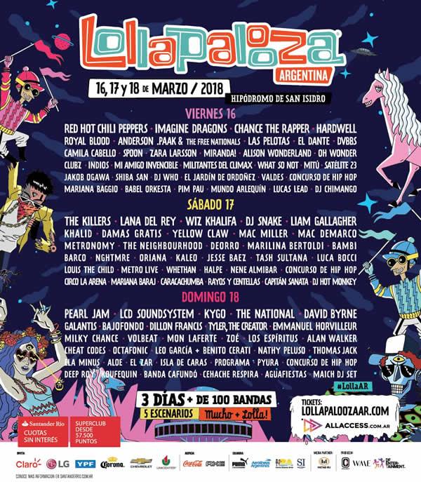 line up lollapalooza argentina 2018